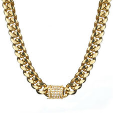 Rhinestone Clasp Gold Plated Stainless Steel Men Miami Cuban Link Chain Necklace