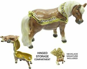 Mini Horse Jeweled Trinket Box with Austrian Crystals