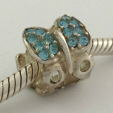 Authentic Chamilia 925 Silver Flutter Sky Crystal Bead Charm 2025-0833