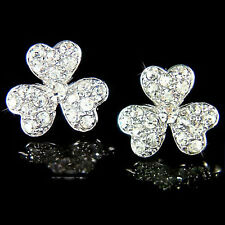 ~3 leaf CLOVER Shamrock w Swarovski Crystal Irish Wedding Ireland Lucky Earrings