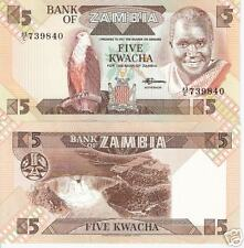 ZAMBIA 5 Kwacha Banknote World Paper Money UNC Currency Africa Note p25d Bill