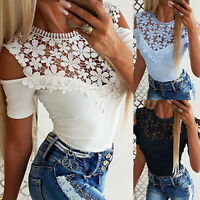 Womens Lady Crochet Cold Shoulder T Shirt Summer Lace Tops Blouse Holiday Casual
