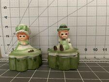 Irish porcelain shamrock figurine/trinket box with boy and girl