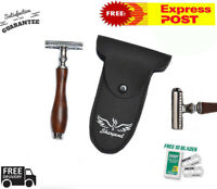 Dark Brown Men Safety Razor Double Edge Razors 10 Free Blades & Pouch travel kit