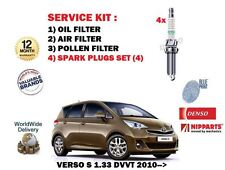 FOR TOYOTA VERSO S 1.33 VVTI 2010-> NEW OIL AIR POLLEN FILTER SET + SPARK PLUGS