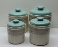 ⭐ Set of 4 Porcelain/Ceramic Canister -  Indian Western Design Motif Style Blue