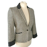 Zara Size L 14 16 Navy Blue Cream Stripe Textured Jacket Casual Smart