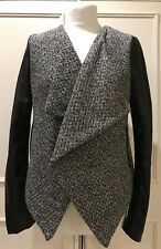 LADIES NEW LOOK GREY & BLACK KNITTED JACKET WITH FAUX LEATHER SLEEVES SIZE 12