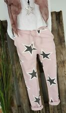 NEU ITALY BAGGY SWEAT JOGPANTS HOSE SWEAT PANTS ☆ ★STARS STERNE ☆ ★ROSA 36-40