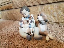 """Lladro #5456 """"New Playmates"""" Retired Figurine Boy With Puppies - Excellent"""