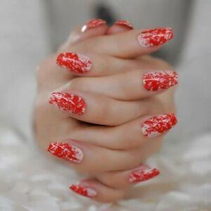 24 pcs Halloween blood splatter scary red short medium press on fake false nails