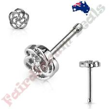 316 L Surgical Steel Nose Bone Stud Ring with CZ Center Flower Top