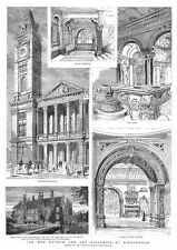 BIRMINGHAM Views in the New Museum and Art Galleries - Antique Print 1885