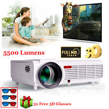 5500 Lumens HD 1080P LED LCD 3D VGA TV Home Theater Projector Cinema+ 3x Glasses