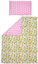 Cot Duvet Cover and Pillowcase Set 100 x 135 cm 100% COTTON pink wh spotty&bees
