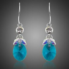 Platinum Plated Made With Swarovski Blue Cluster Gradual Change Crystal Earrings