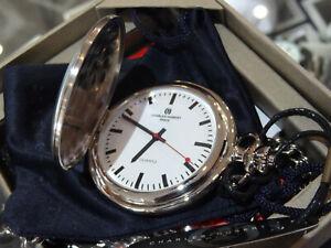 Charles Hubert Stainless White Dial Quartz red hand  Pocket watch Vest