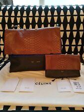 Neuf avec étiquettes Celine Trio Luggage Python rabattue épaule Sac à main avec Pochette RRP £ 4400
