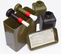 German Army Surplus Decontamination Kit In Box cleaning brushes oil bottles