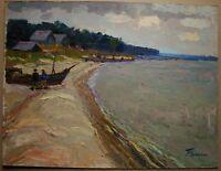 Russian Ukrainian Soviet Oil Painting palette knife Seascape boat impressionism