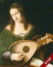 YOUNG GIRL PLAYING A LUTE MUSIC ART DAILY LIFE PAINTING REAL CANVAS PRINT