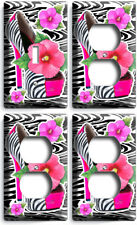 HOT PINK ZEBRA HIGH HEEL SHOES FLOWERS LIGHT SWITCH 3 OUTLET LOT WALL ROOM DECOR