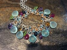 Sterling Silver Necklace Natural Tanzanite, Amethyst, Citrine, Topaz, Chalcedony