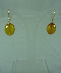 VINTAGE ESTATE 9CT/K YELLOW GOLD FACETED BALTIC AMBER DROP DANGLE EARRINGS #8690