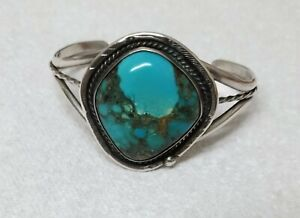 SIGNED NATIVE AMERICAN NAVAJO SILVER & TURQUOISE LARGE STONE CUFF BRACELET