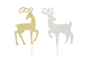 """Set of 2 REINDEERS Design Holiday Cake Topper 5"""" Tall Choose COLOR"""
