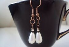 Handmade Earrings, Glass Pearl Earrings, Drop Earrings, Dangle Earrings, Bronze