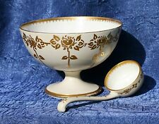 T & V Limoges France Pedestal Footed Condiment Mayonnaise Gravy Gilt w/SPOON
