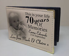 Personalised photo album, 70 year memory book, birthday christmas gift present