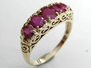 R247 Genuine 9ct, 14K or 18K Gold Natural Ruby Bridge Eternity Ring in yr size