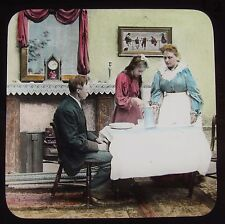 Glass Magic Lantern Slide VICTORIAN FAMILY AT TABLE C1890 PHOTO STORY SOCIAL
