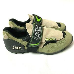 Men's LAKE MX80 Cycling Shoes Sz 9.5 Kakhi Green Lace & Strap Closure