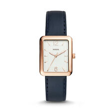 FOSSIL ES4158 Atwater Rose Gold Rectangle Dial Navy Blue Leather 36mm Watch