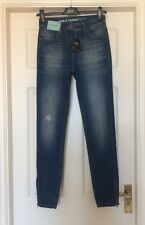 BNWT NEXT RIPPED ZIP HEM BLUE ANKLE SKINNY HIGH RISE STRETCH JEANS SZ 16 LONG