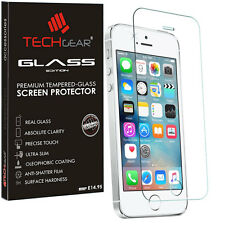 Genuine TECHGEAR TEMPERED GLASS Screen Protector for Apple iPhone 5s 5c 5 SE