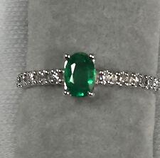 Emerald & Diamond Ring in 18K White Gold