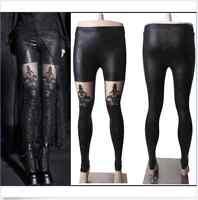 Punk Rave womens Gothic embossed decorative pattern leggings Pants Steampunk yh
