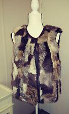 vtg 100% Real Genuine Rabbit Fur Vest for posh hipster Hippie Boho Festival M L