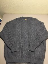 Lesotho Handknits Men's Sweater Pure New Wool L/XL Grey Cable Knit Fishermen