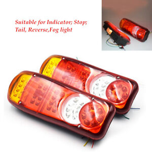 2pcs LED Trailer Lights Stop Tail Reverse Indicator Fog Lamps Truck Boat ABS kit