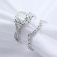 HSN 14k White Gold Over Cushion Cut Engagement Wedding Ring