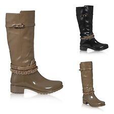 Block Heel Zip Wellington Boots for Women