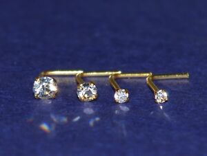 one x 18 ct carat yellow Gold plated 1.5,2 or 2.5 mm crystal L Shaped Nose Stud