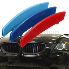 3x 3D M Styling Car Front Grill Grille Sport Strips Cover For 2004-2010 BMW5 E60