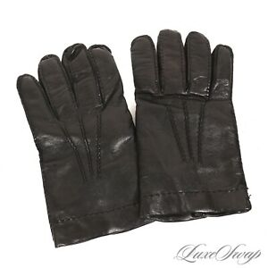Brooks Brothers Made in Italy Black Nappa Leather 100% Cashmere Lined Gloves XL