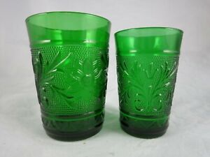 Anchor Hocking Sandwich Forest Green Glass Tumblers Lot of 2